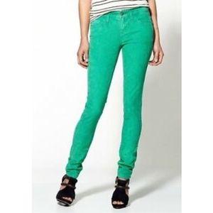 Free People Skinny Corduroy Pants in Green